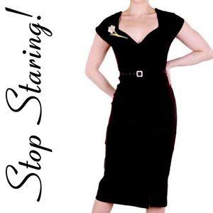 Stop Staring black Paris wiggle dress M